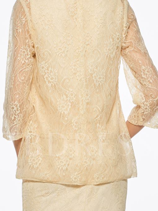 Scoop Neck Lace Mother Of The Bride Dress With Jacket