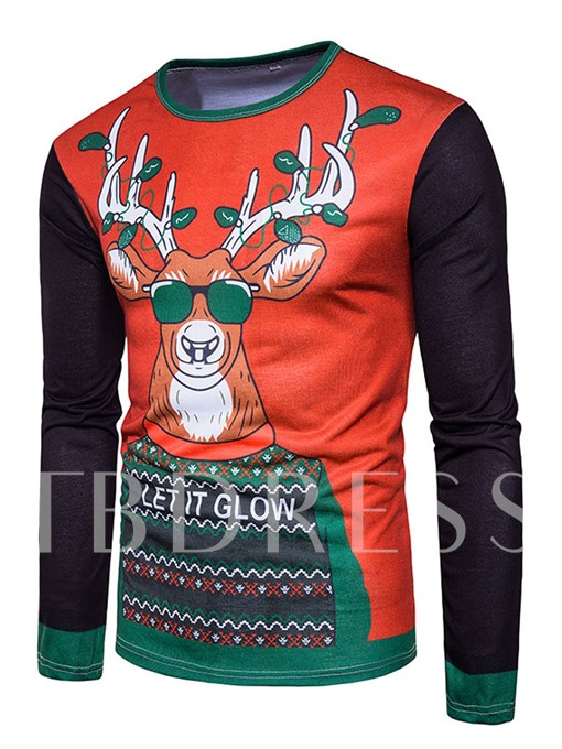 Round Collar Christmas Printed Slim Fit Men's T-Shirt