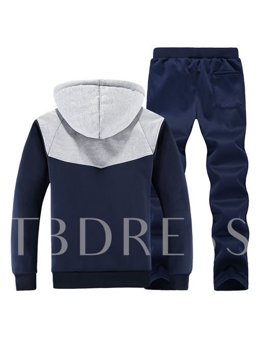 Hooded Thicken Warm Patchwork Casual Men's Sports Suit