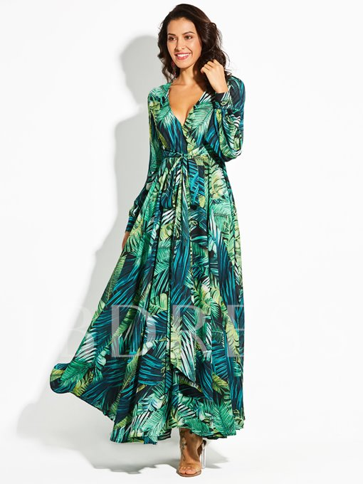 V-Neck Lantern Sleeve Plant Print Vacation Women's Maxi Dress