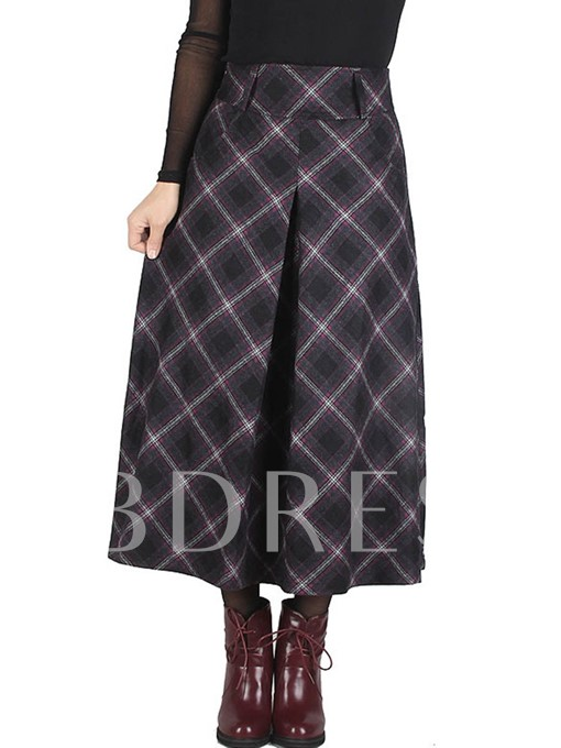 Pleated High Waist Plaid Print Pocket Women's Skirt