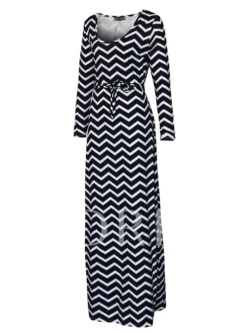 Lace up Striped Women's Maxi Dress