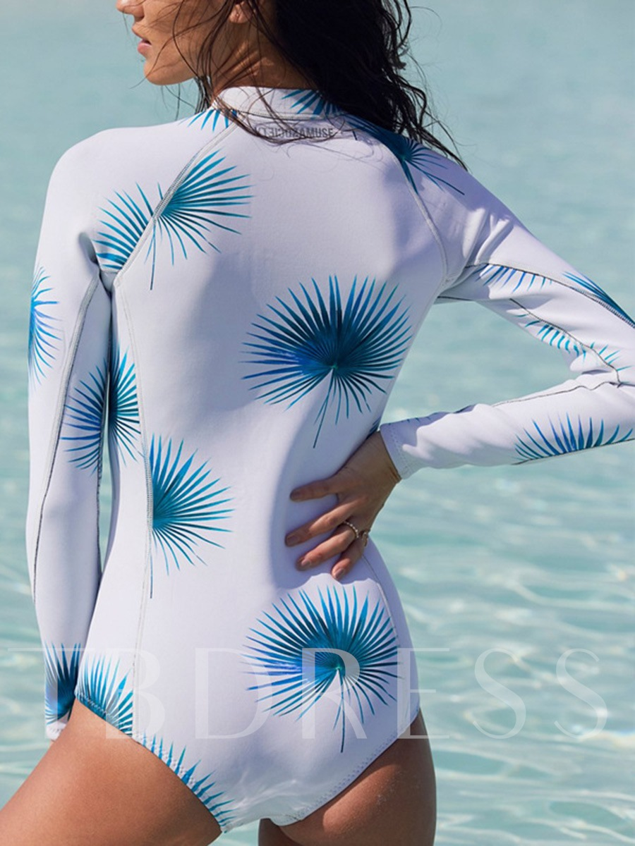 Leaf Print Zipper Long Sleeve One-Piece Swimsuit