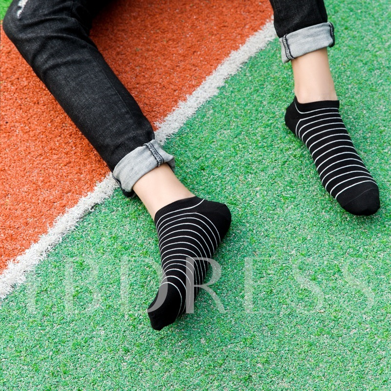 Blend Pattern Black Men's Low Cut Socks Slippers for Adult 4 Pairs