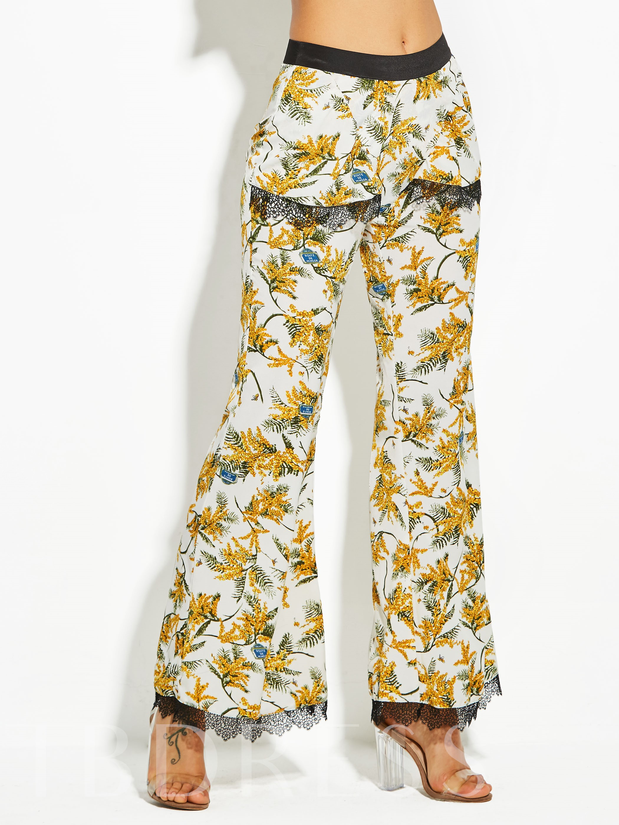 Buy Flower Print Full Length Women's Vacation Bellbottoms, Vintacy, 12938152 for $17.99 in TBDress store