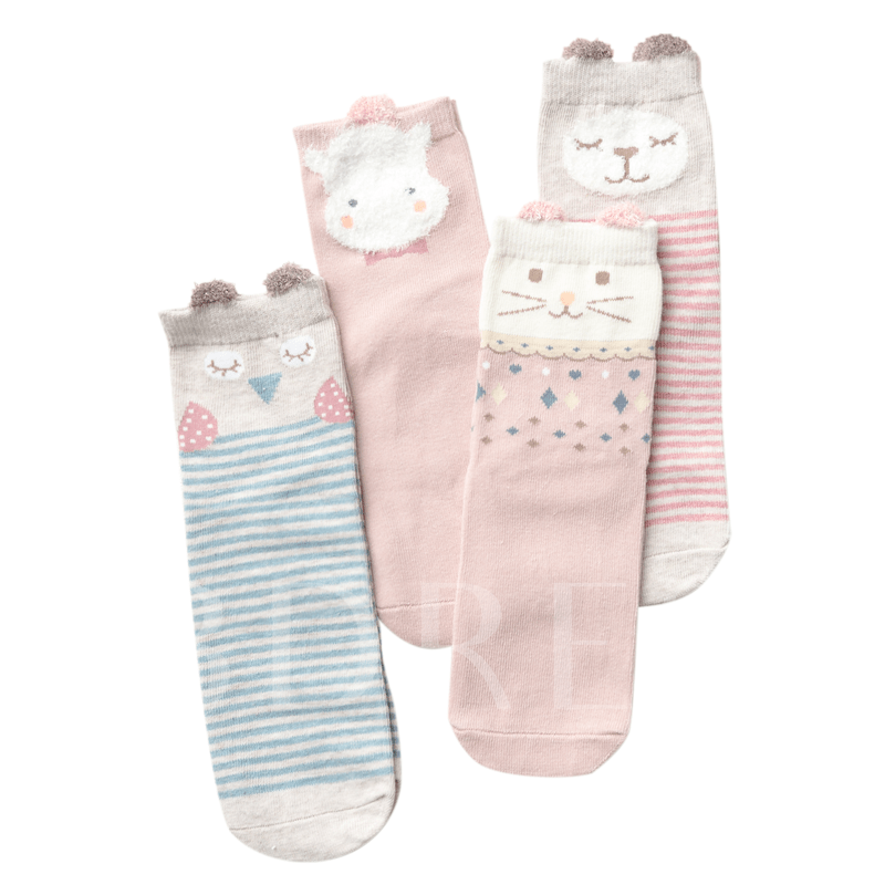 Animal Pink Cute Socks for Girls Mid Cut Hosiery 4 Packs
