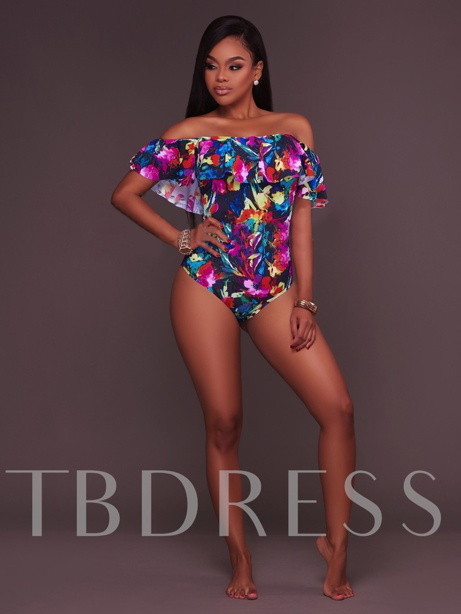 Flower Print Off-The-Shoulder Falbala One-Piece Swimsuit
