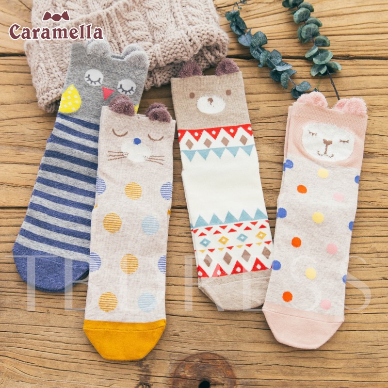 Mixed Animal Pattern Cute Ears Women's Socks 4 Packs