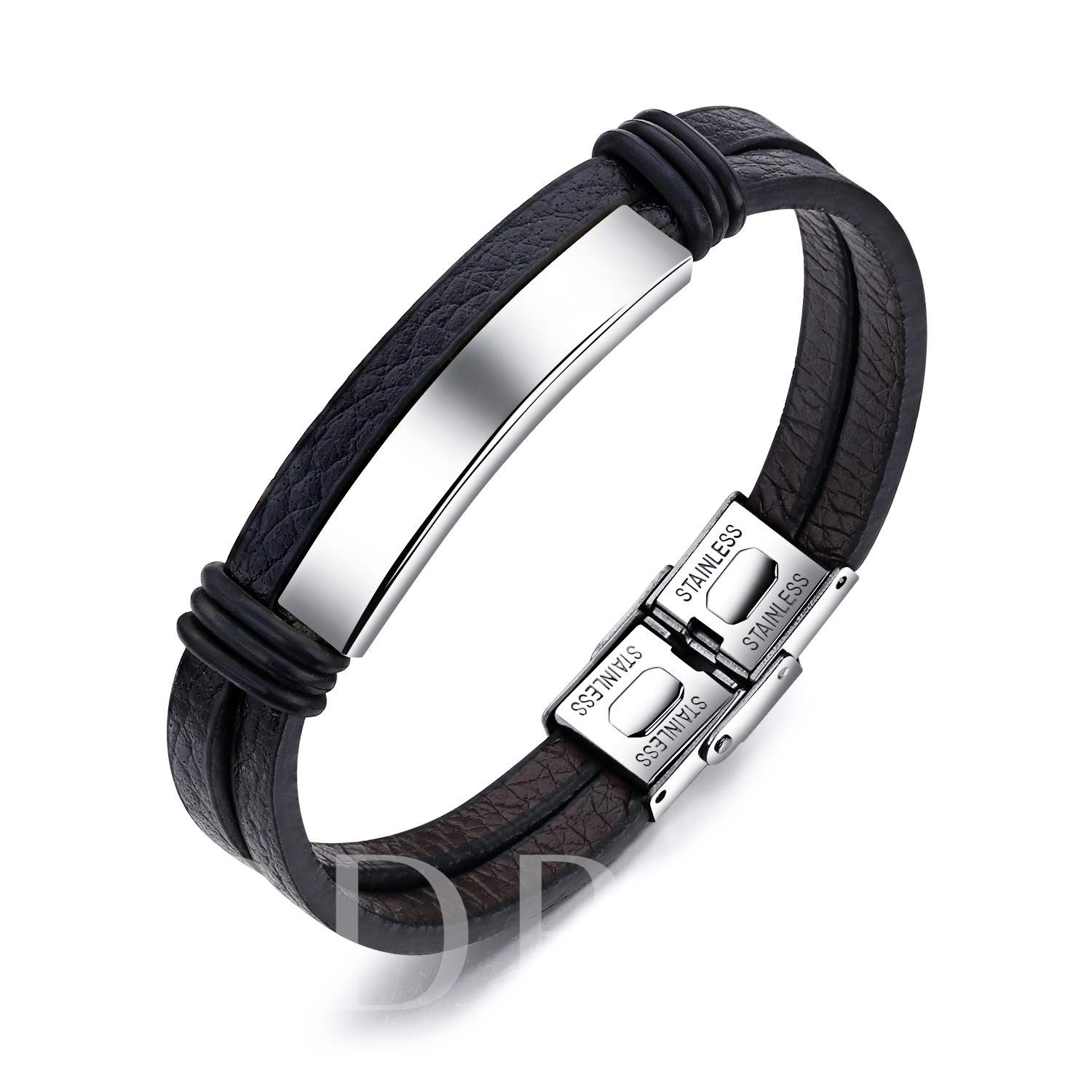 Stainless Steel Embossed PU Double Bracelet