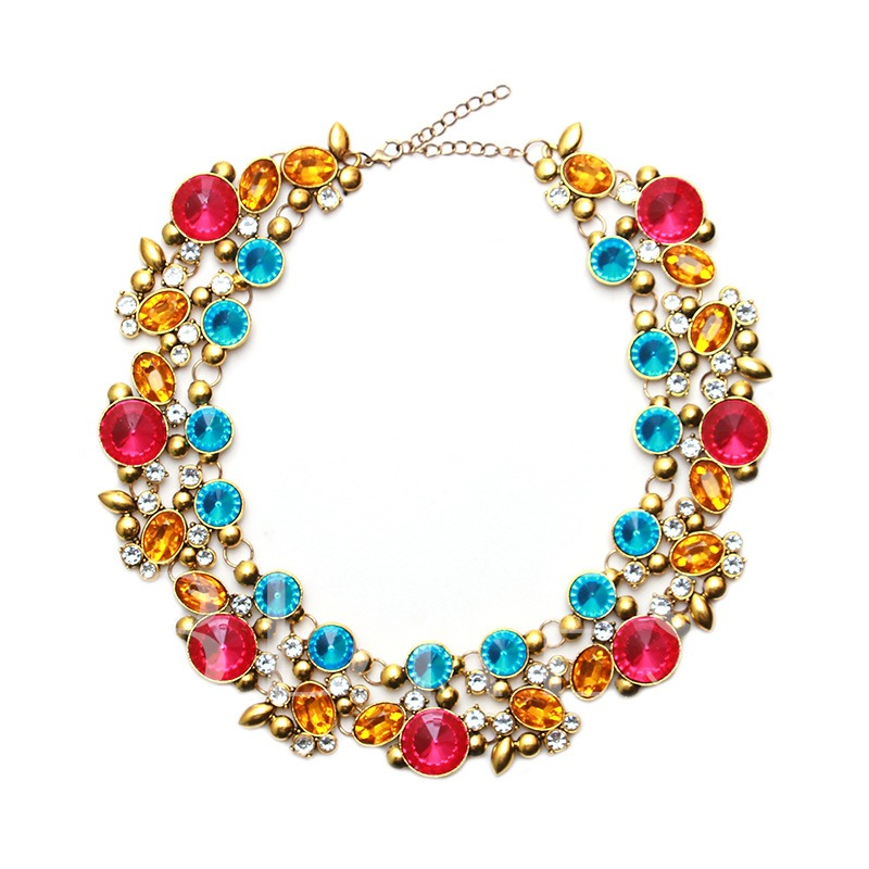 Colorful Alloy Synthetic Stones Alloy Necklace