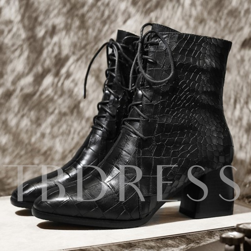 Embossed Leather Chunky Heel Women's Ankle Boots (Plus Size Available)