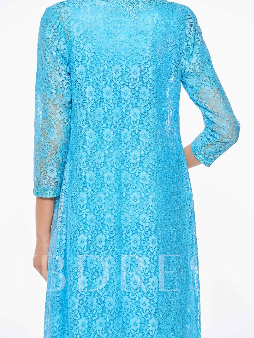 Lace Tea Length Mother of the Bride Dress with Jacket