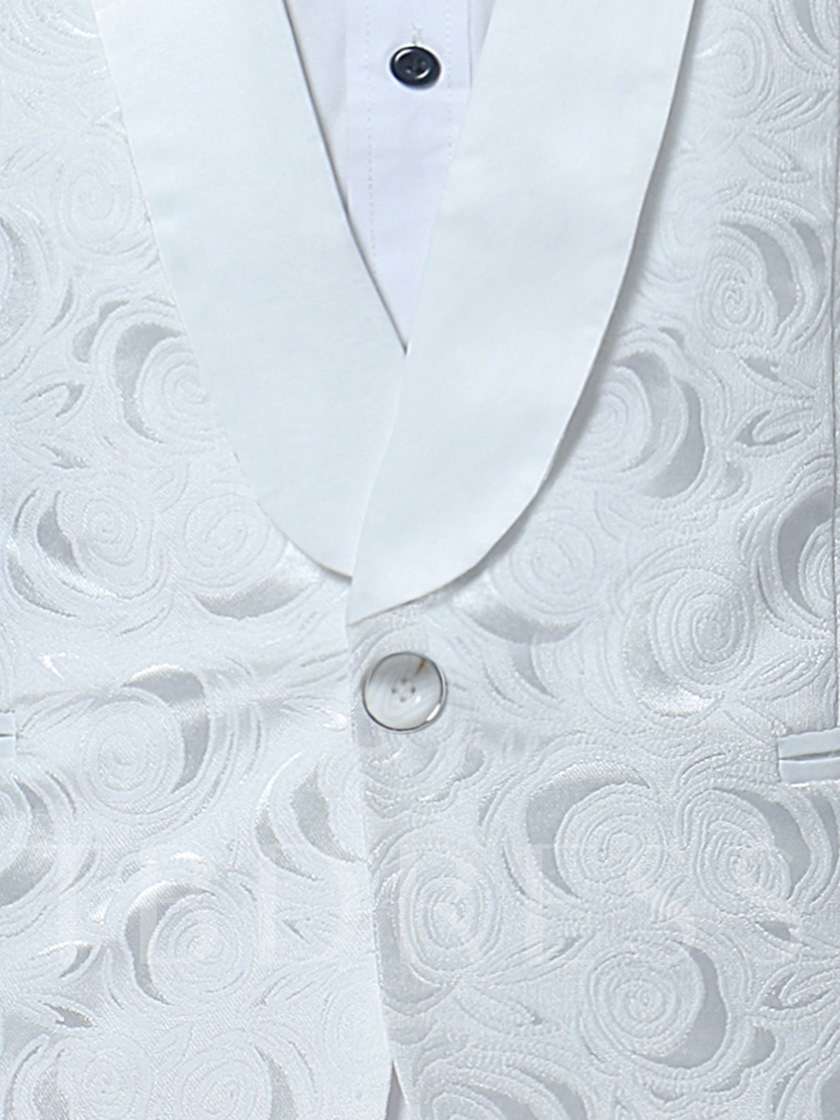 Notched Collar White One Button Luxury Slim Fit Men's Dress Suit