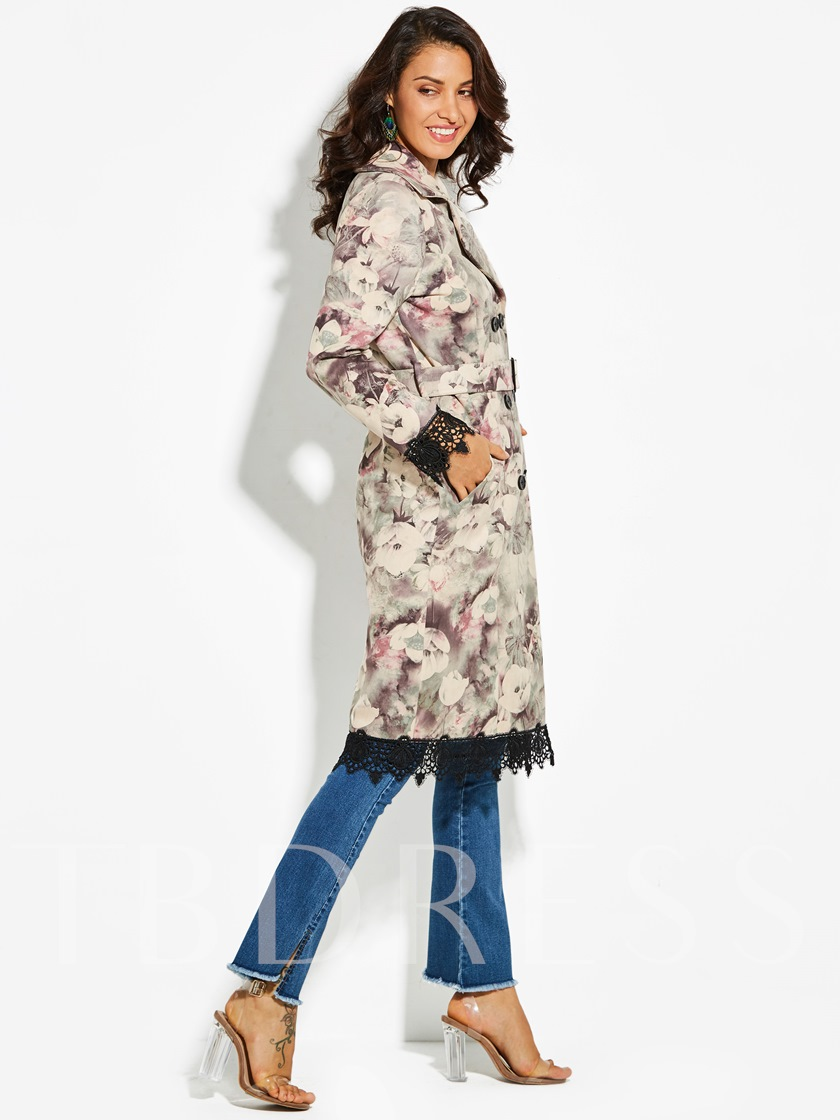 Notched Lapel Floral Double-Breasted Vacation Women's Overcoat