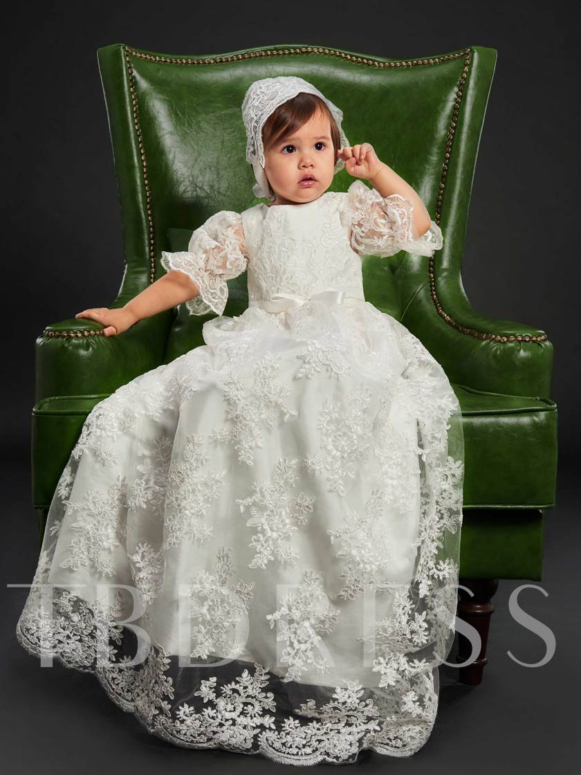 Appliques Sashes Sleeves Baby Girl's Christening Gown with Bonnet
