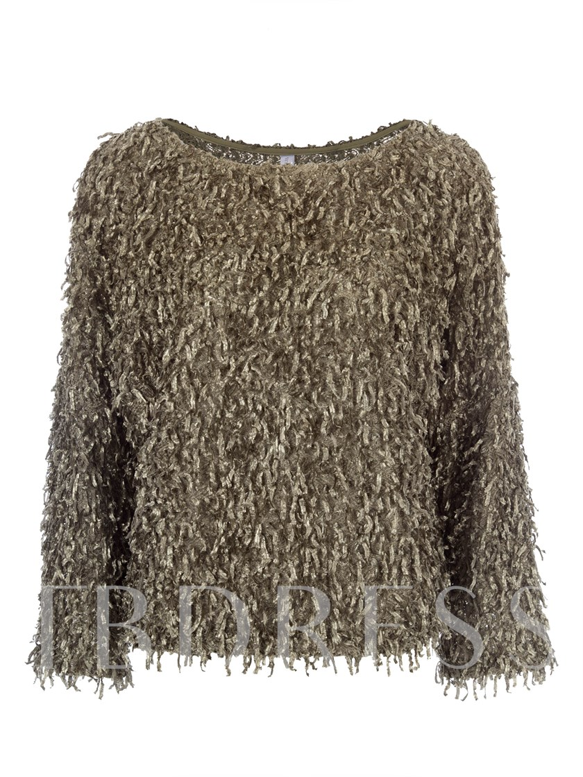 Loose Round Neck Solid Color Women's Sweater