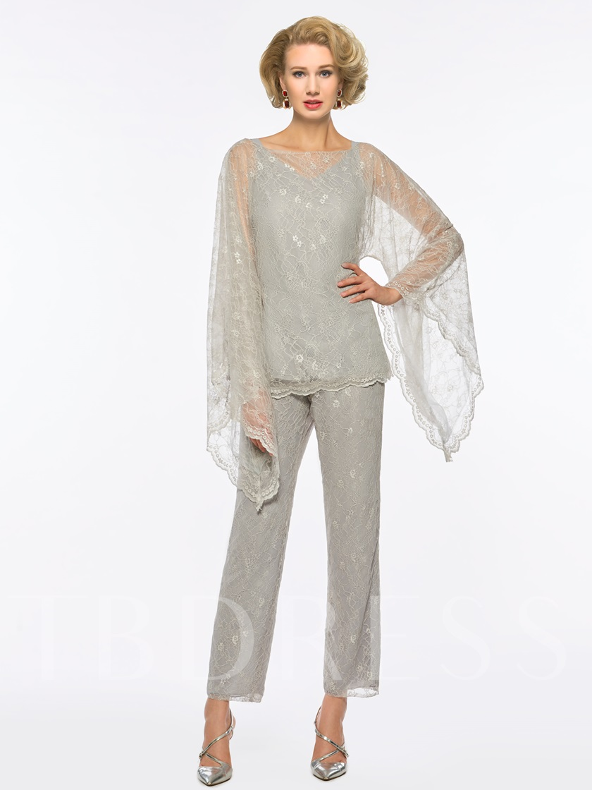 Long Sleeves Lace 3 Pieces Mother of the Bride Pantsuits