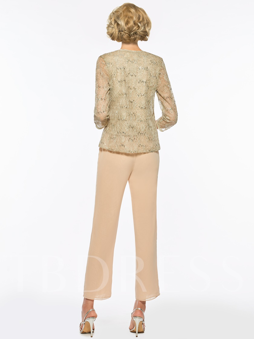 Sequined 3 Pieces Lace Mother of the Bride Pantsuits