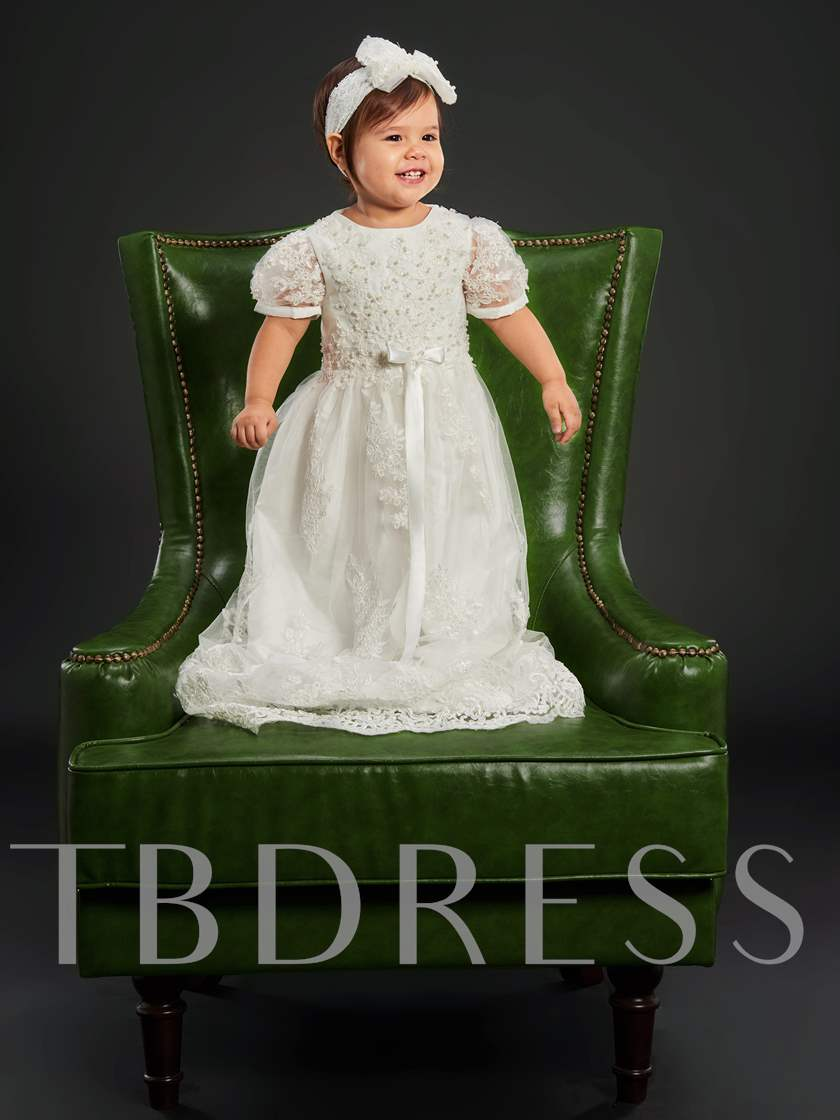 Short Sleeves Sashes Lace Appliqued Baby Girl's Christening Dress