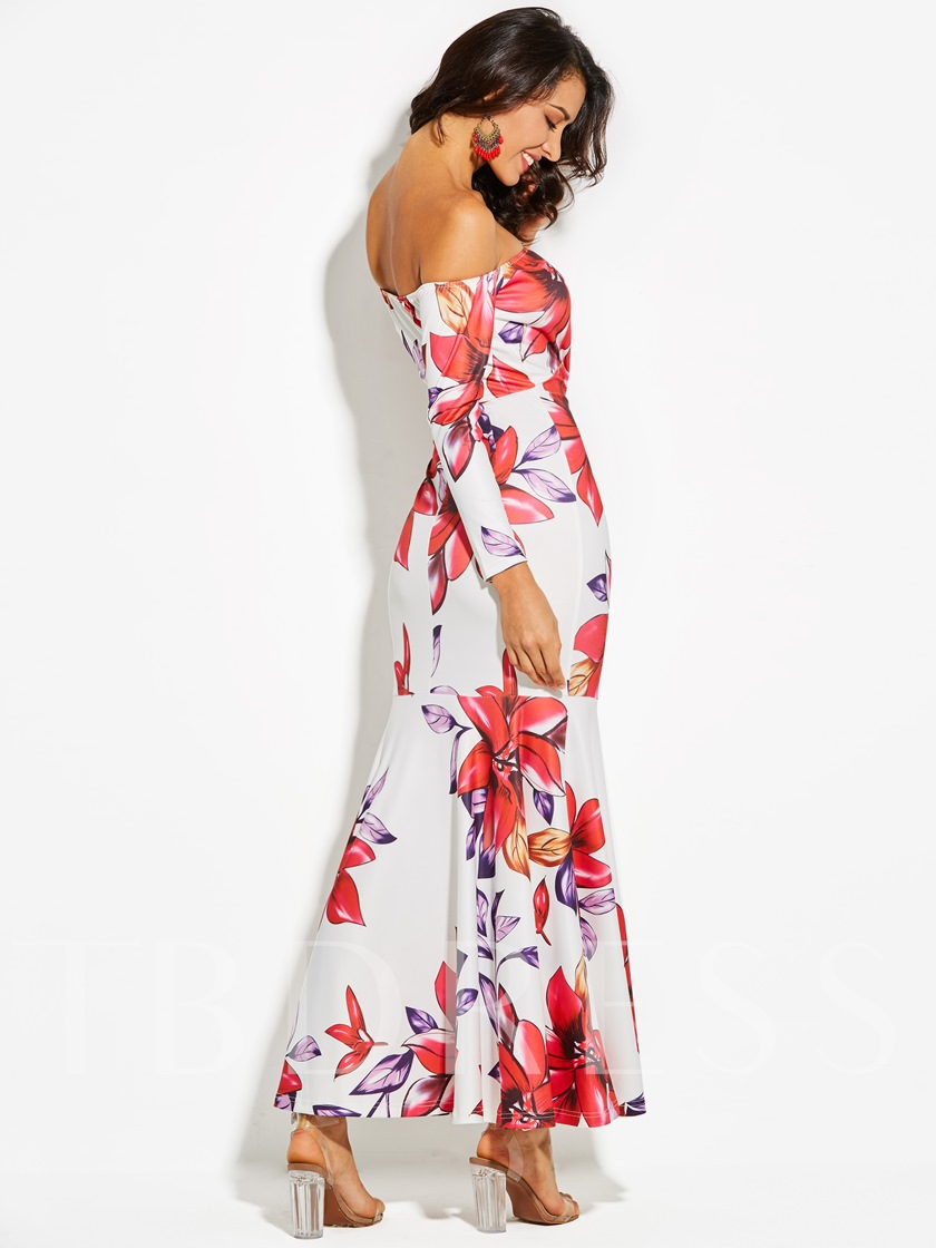 Off Shoulder Long Sleeve Vacation Women's Maxi Dress