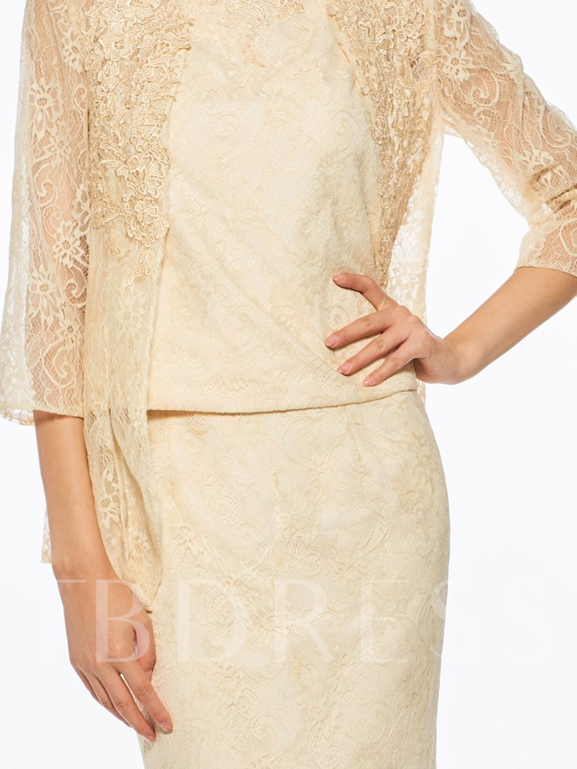 Straps Lace Ankle-Length Mother of the Bride Dress with Jacket