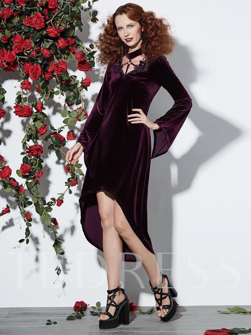 Purple Bell Sleeve Asym Women's Day Dress