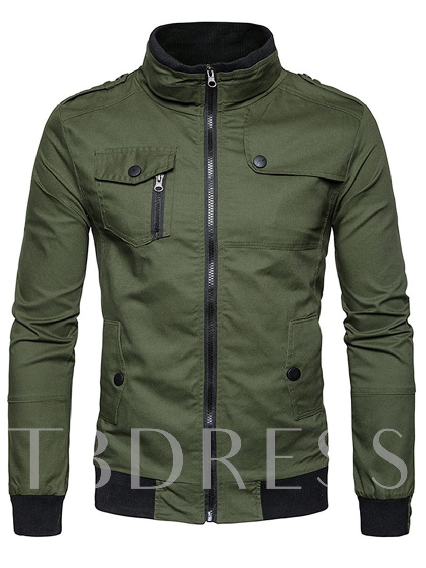 Stand Collar Multi Pocket Zipper Plain Slim Fit Men's Jacket