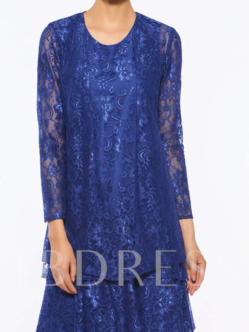 Tiered Lace Knee-Length Mother of the Bride Dress with Jacket