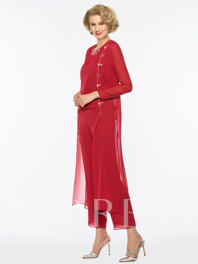 Round Neck Beading 3 Pieces Mother of the Bride Pantsuits