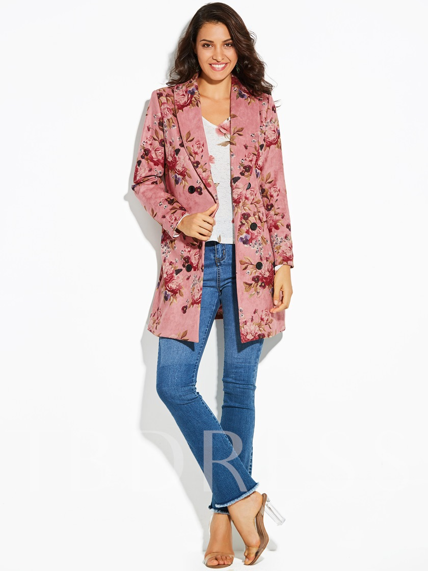 Shawl Collar Floral Print Belt Women's Overcoat