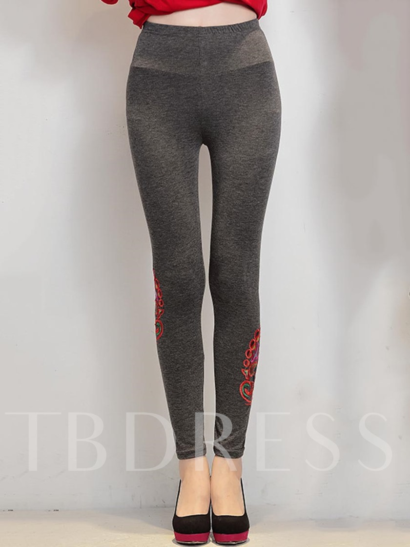 Floral Embroidery Patchwork Women's Leggings