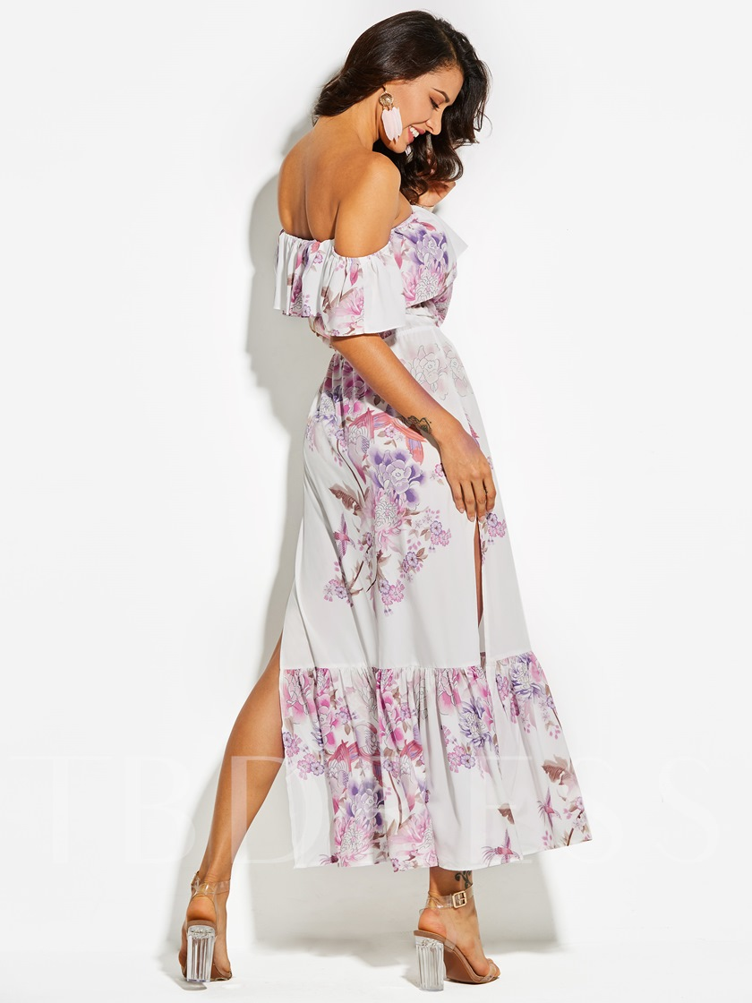 Vacation Strapless Floral Print Women's Maxi Dress