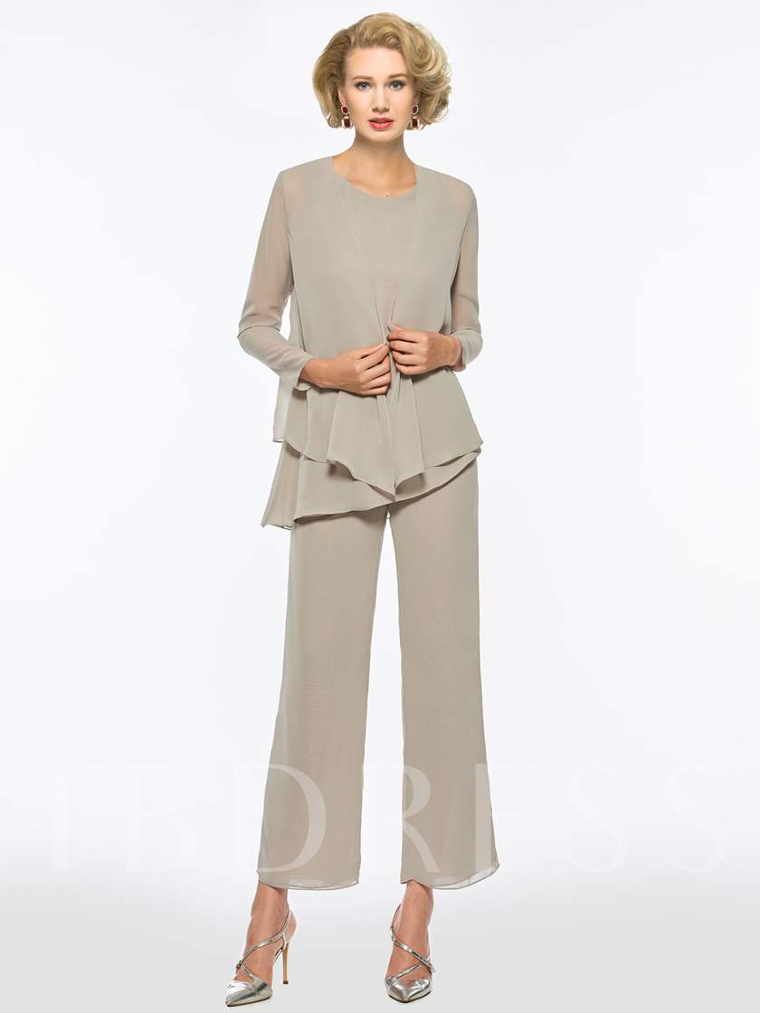 3 Pieces Mother of the Bride Pantsuits with Long Sleeve Jacket