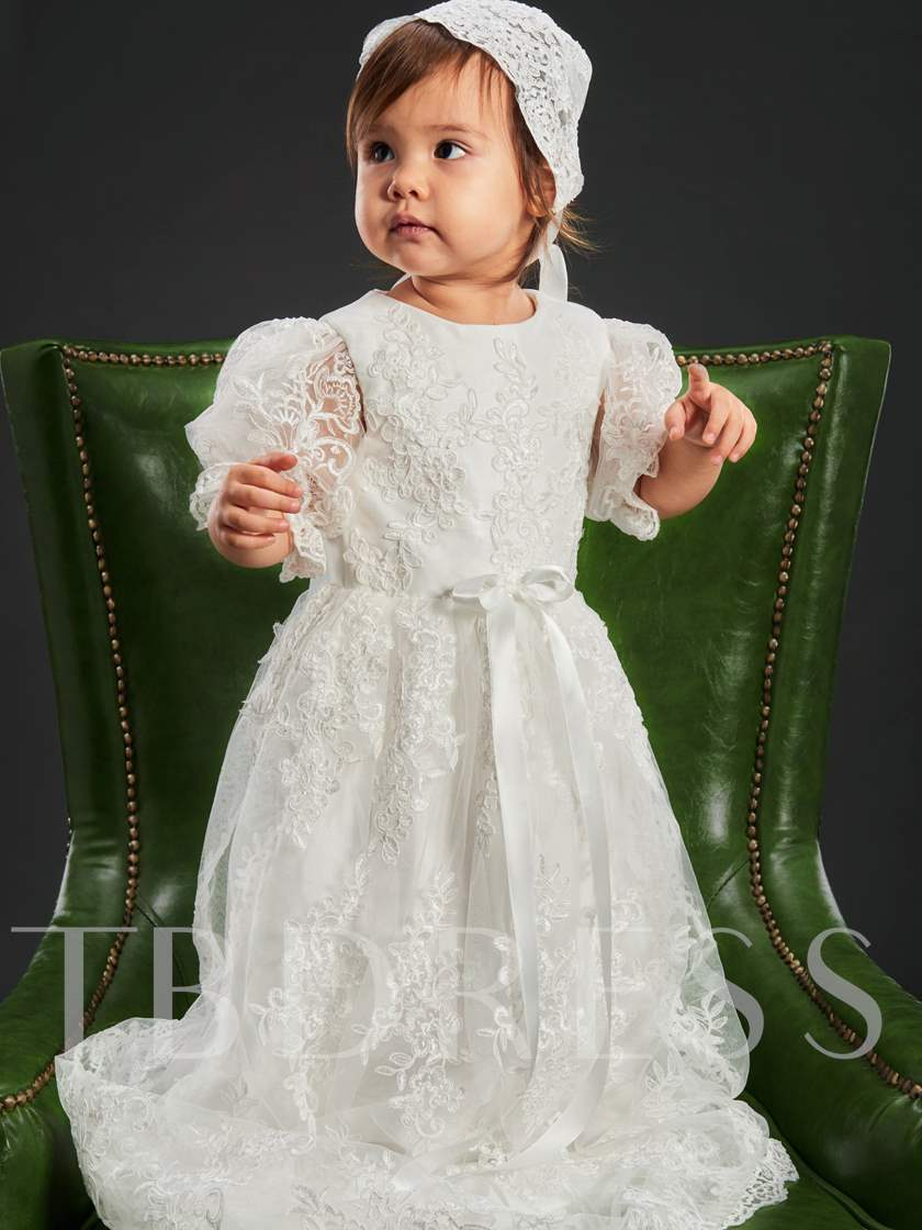 Appliques Christening Gown for Girls Baptism
