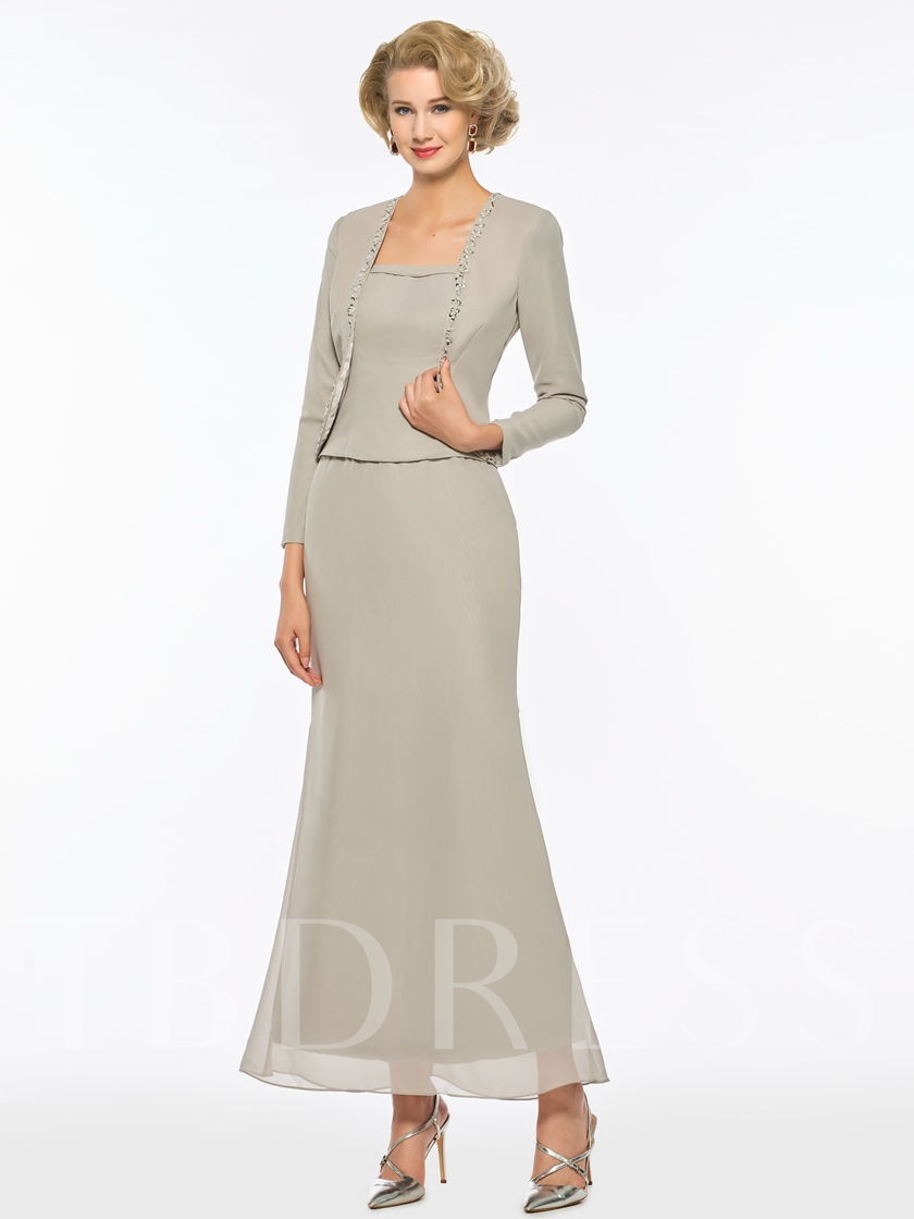 Beaded Sheath Ankle-Length Mother of the Bride Dress with Jacket