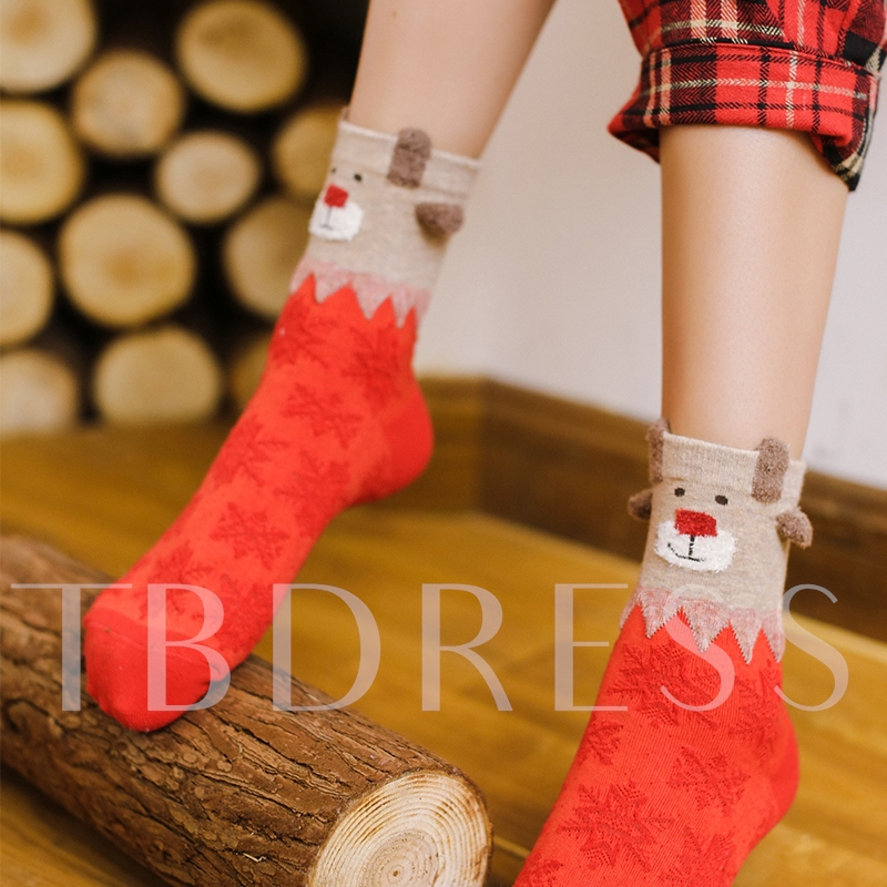 Red Hosiery Christmas Gift Box Girls Mid Cut Length 4 Pairs