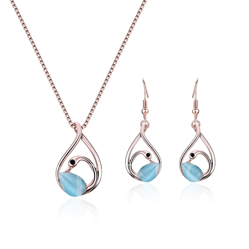 Sky Blue Hollow Out Swan Box Chain Jewelry Sets