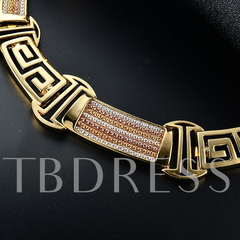 Bamboo Chain Colorful Full Drill Alloy Jewelry Sets