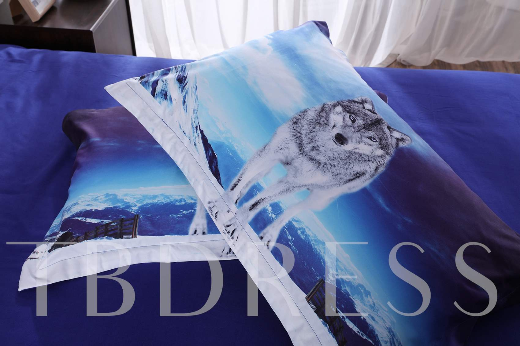 Wolf under the Sky Printed Cotton 3D 4-Piece Bedding Sets/Duvet Covers