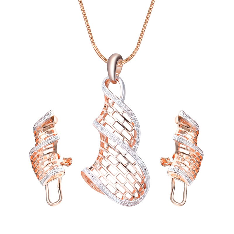 Twist Arm Diamante Box Chain Hollow Out Jewelry Sets