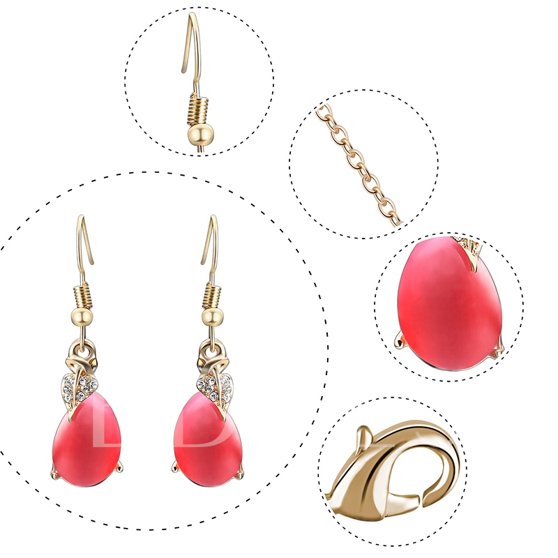 Alloy Pear Shaped Diamante Link Chain Jewelry Sets