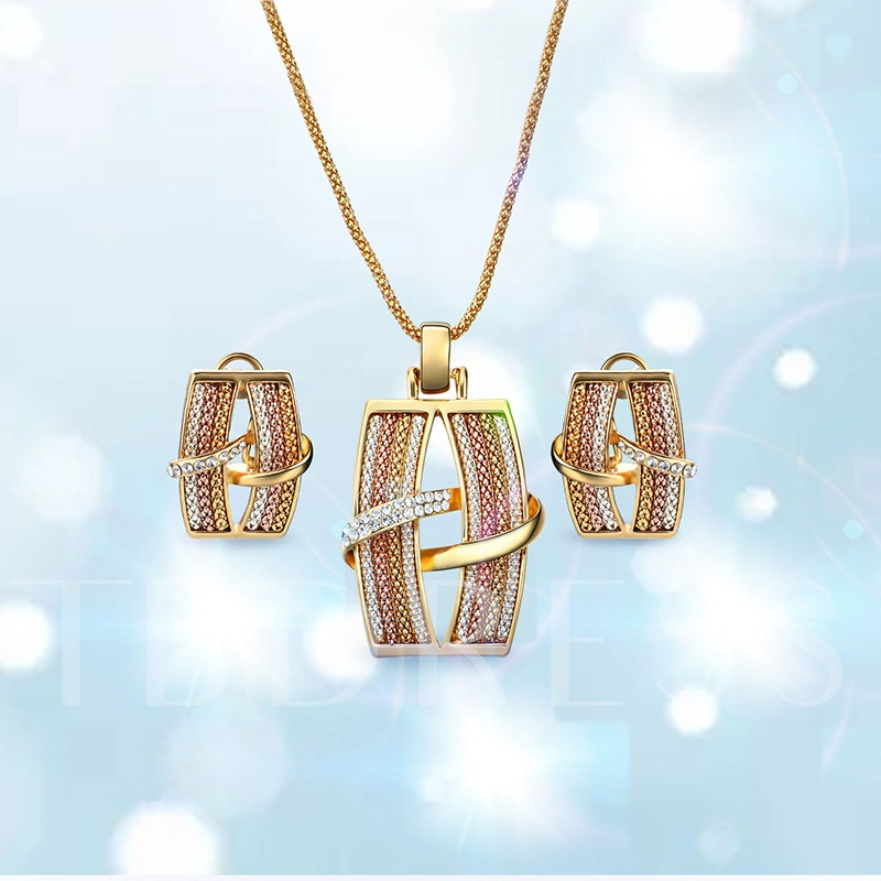 Colorful Overgild Diamante Dazzling Jewelry Sets