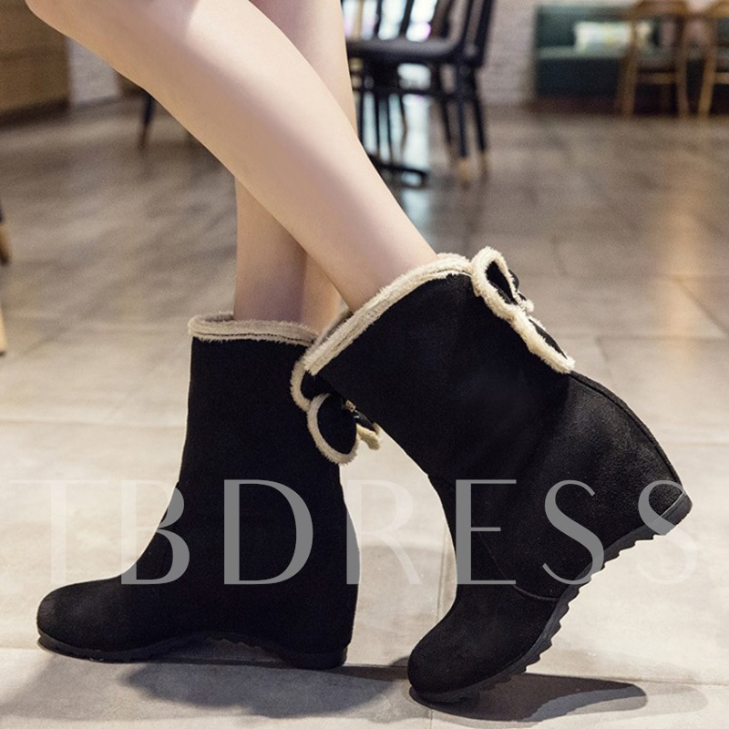 Back Floral Height Increasing Shoes Suede Boots for Women