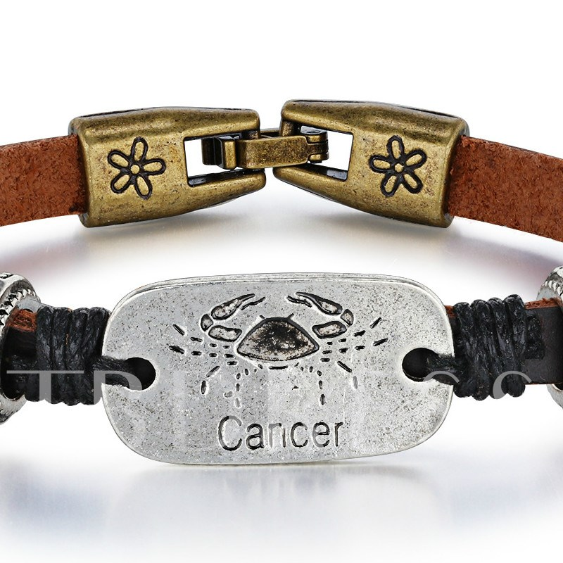 Cancer Thin Rope Lettering Unique Bracelet