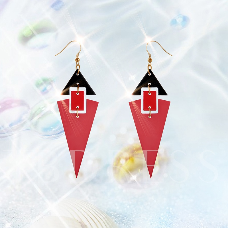 Alloy Color Block Patchwork Acrylic Earrings