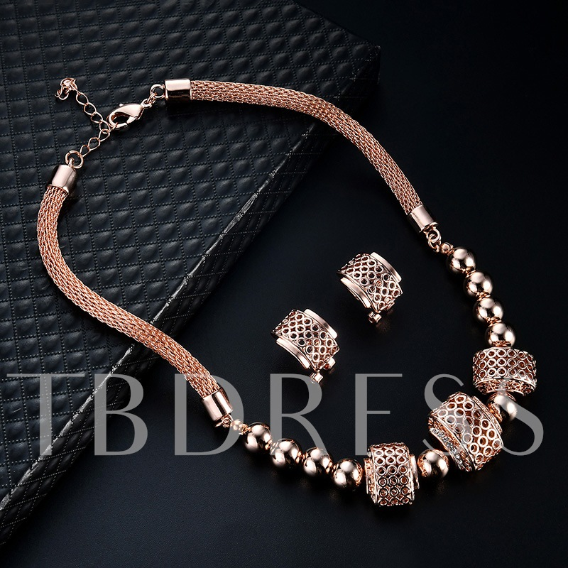 Alloy Diamante Ball Link Chain Jewelry Sets