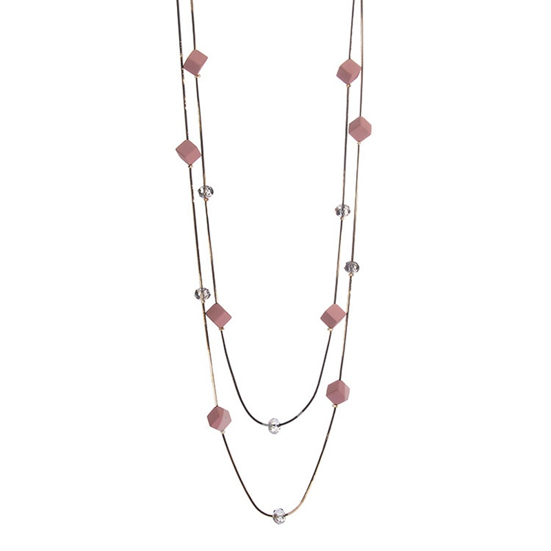 All Match Cube Alloy Transparent Sweater Chain Necklace
