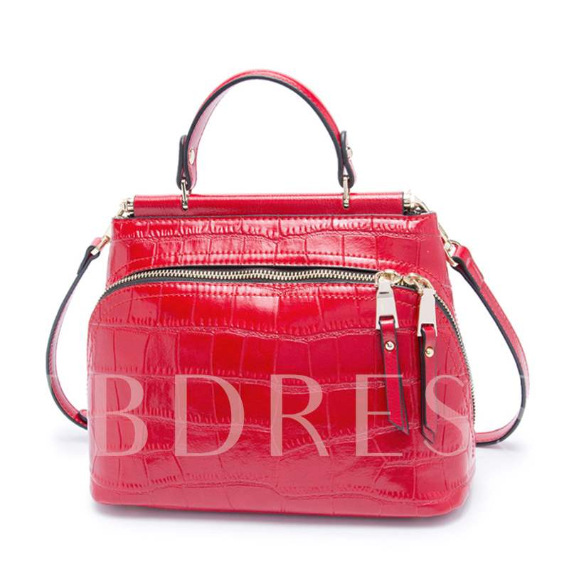 Shell Type Solid Color Zipper Women Tote