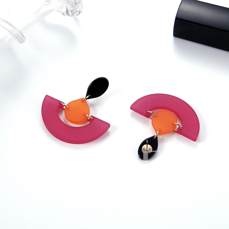 Simple Alloy Semicircle European Style Acrylic Earrings