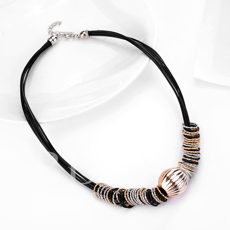 Circle Alloy Black Rope Shining Geometric Necklace